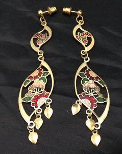 Vintage Enamel Long Dangling Flower Pierced Earrings In Gold Tone  | eBay
