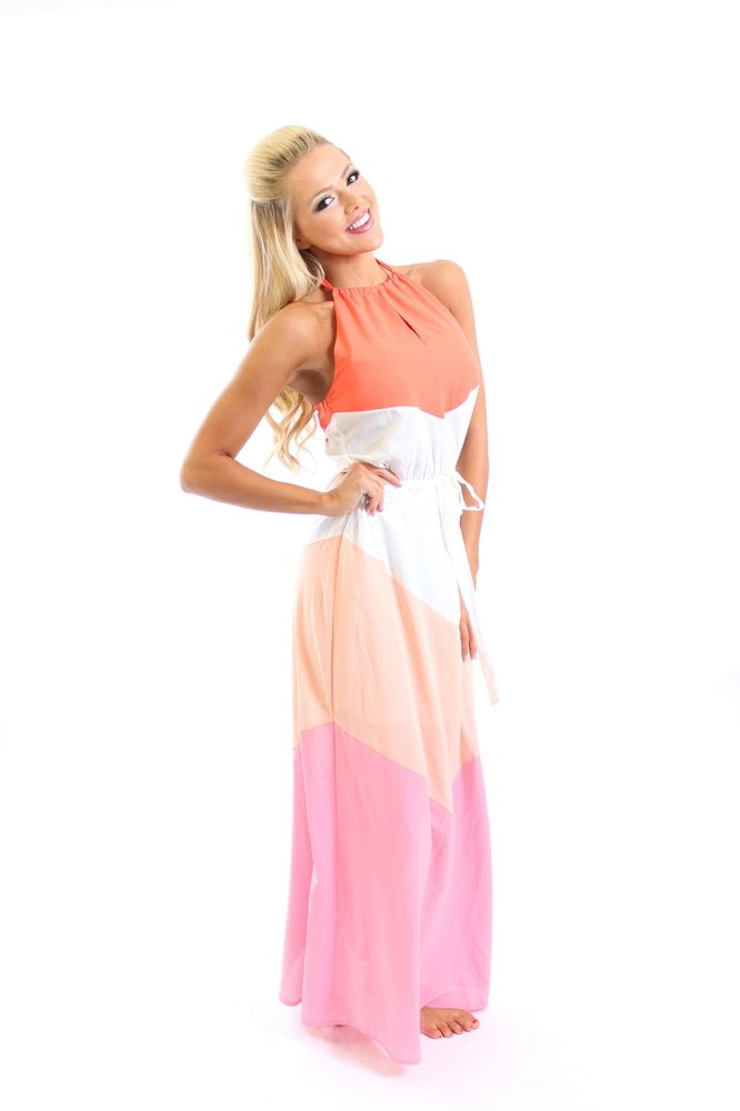 Dress coral summer style pinterest halter maxi dresses modern