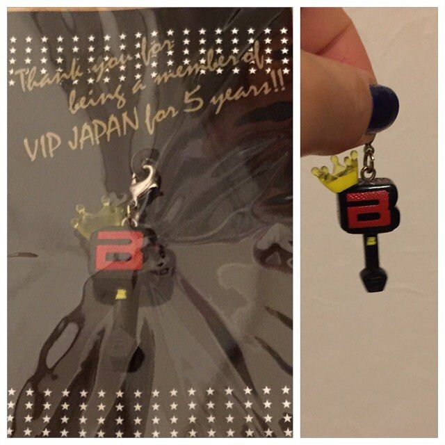 """I got a charm from VIP. It says """"Thank you for being member of VIP JAPAN for 5 years!!"""". Actually, I'm being member of VIP for 6 years and 4months😁😁😁 #bigbang #vipjapan @xxxibgdrgn @__youngbae__ @choi_seung_hyun_tttop @seungriseyo"""