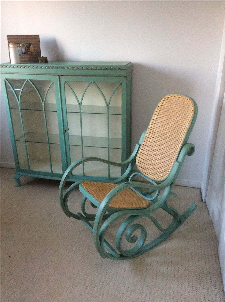 DIY chabby chic Repurposed old China cabinet and bentwood rocker