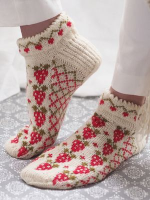 Knitted socks strawberry