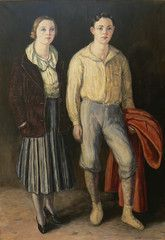 """""""Els dos germans"""", de Marià Pidelaserra i Brias.  Oli sobre tela  185 x 130 cm  Any 1931. Es ven per 3.000 €.  (http://www.pintorscatalans.cat/ca/cataleg/maria-pidelaserra-i-brias/n-492-els-dos-germans/)."""