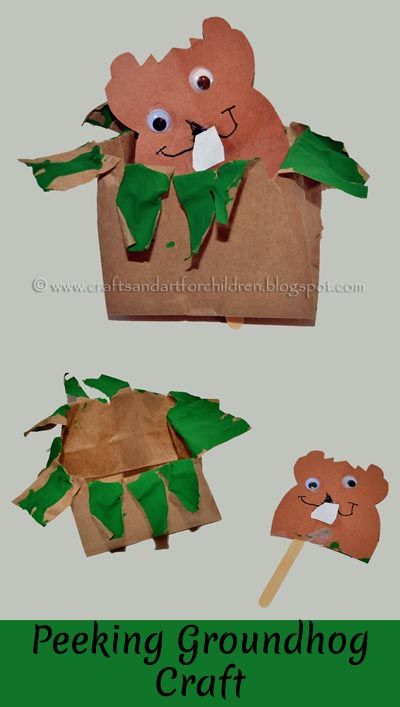 Peeking Groundhog Paper Bag Craft