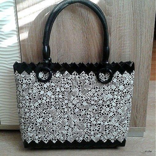 čierno biela ecoistka 3 / mofer - SAShE.sk - Handmade Kabelky