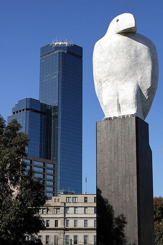 Melbourne, Vic. Bunjil is a well known 25-metre eagle sculpture in Docklands. The sculpture by Bruce Armstrong is a Docklands landmark (2002), was inspired by Bunjil, the eaglehawk regarded as the spirit creator of the Kulin nations, which include the Wurundjeri people. Bunjil will have to be moved to make way for a new building, no easy task. The cement slab supporting the structure is thought to weigh 90 tonnes.