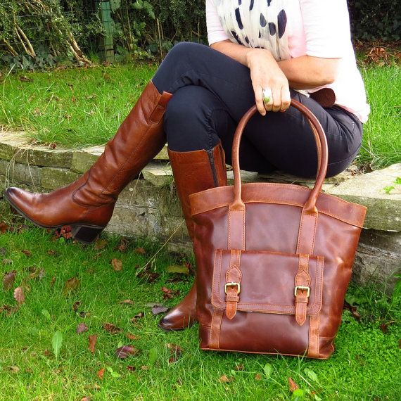 Hey, I found this really awesome Etsy listing at https://www.etsy.com/listing/199892264/leather-tote-vintage-brown