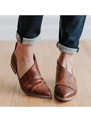 Details about  /Women/'s Ankle Boots Retro Block Mid Heels Faux Leather Pointed Toe  Zip Up Shoes