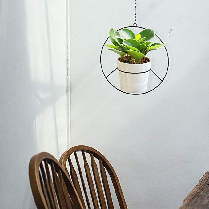 Vencer Metal Flower Pot Holder Plant Hanger Modern Round Hanging Planter Black Garden Outdoor Plants Homeware Garden