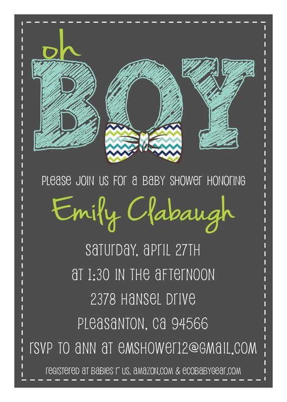 PRINTABLE PDF - Oh Boy Chevron Bowtie Baby Shower Invitation