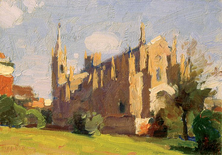 The Church Beside Museo del Prado (Madrid, Spain), Oil on Canvas, 4.7x6.7 inches, 1990
