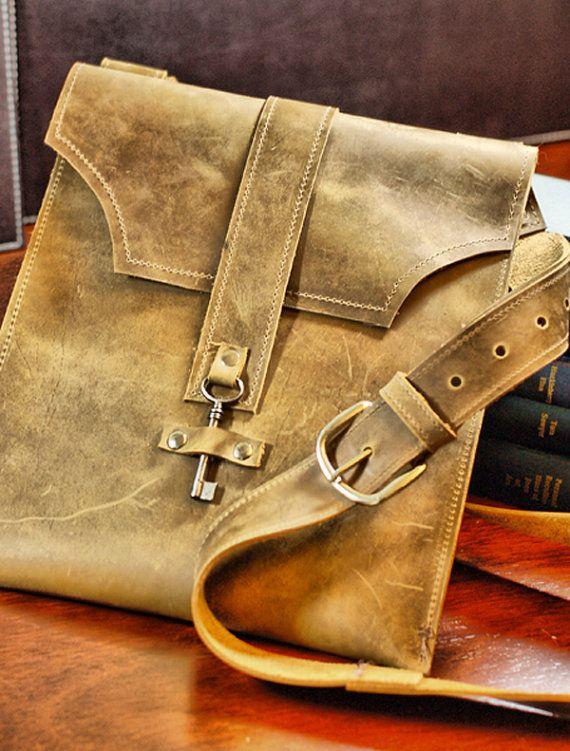 Distressed Brown Leather Messenger Bag  Boho Bag by DivinaDenuevo, $150.00