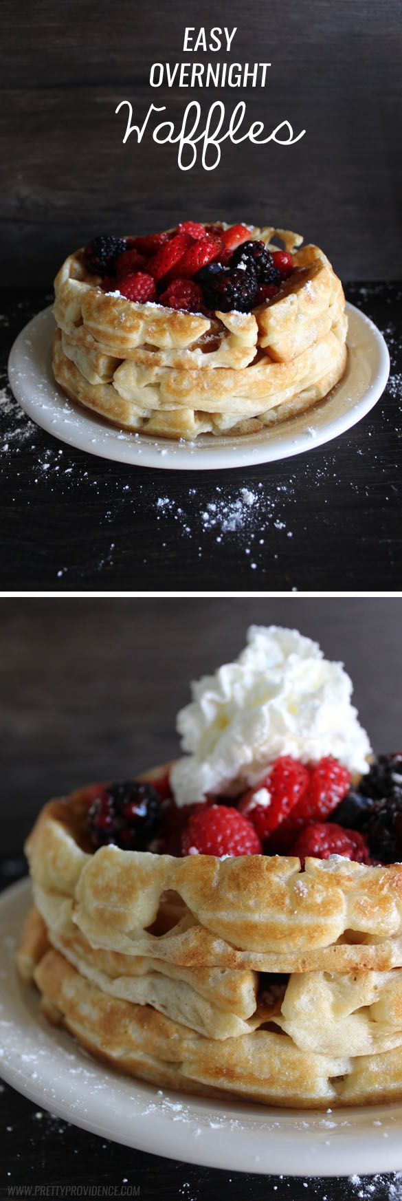 No lie, these are hands down the best waffles I have EVER eaten. We make these all the time and they never get old! So easy, too. Easy overnight waffles recipe.
