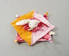 Doudou plat carrés lapin velours rose orange Baby Nat' 28 cm