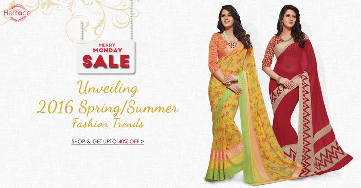 Summer just got hotter! Shop from a stunning range of #designer #sarees on deepkalasilk.com and avail upto 40% off in our Merry Monday sale. Hurry, offer valid until Tuesday 10am only.