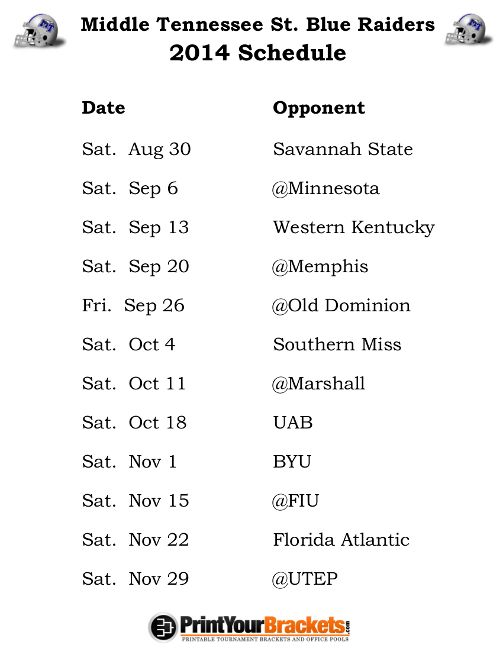 Printable Middle Tennessee St Blue Raiders Football Schedule 2014