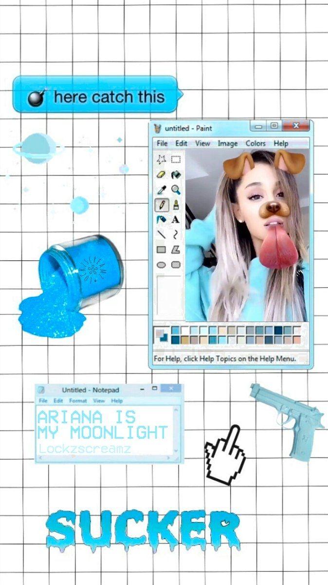 Wallpaper Lockscreen Ariana Grande (blue)