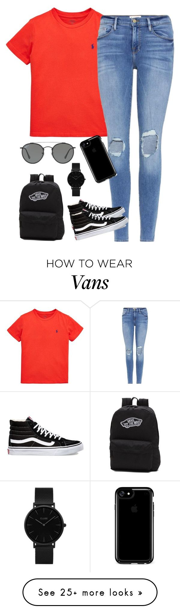 """OOTD 3//Black and Red❤️"" by randagirl-1 on Polyvore featuring Ralph Lauren, Frame, Vans, Speck, CLUSE and Ray-Ban"