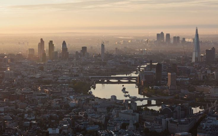 Aerial photographs of London at dawn