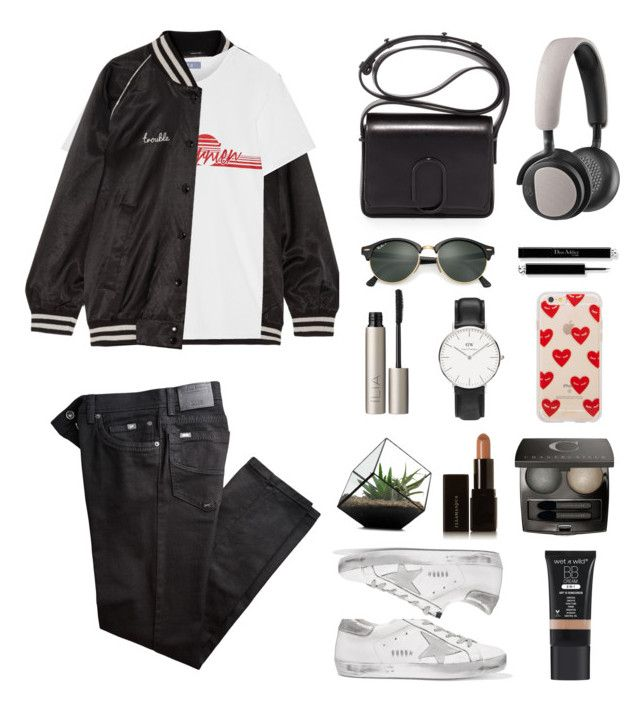 """Frayed jeans"" by gifra ❤ liked on Polyvore featuring 3.1 Phillip Lim, Golden Goose, R13, Koza, Ilia, Chantecaille, Ray-Ban, Daniel Wellington, B&O Play and Illamasqua"