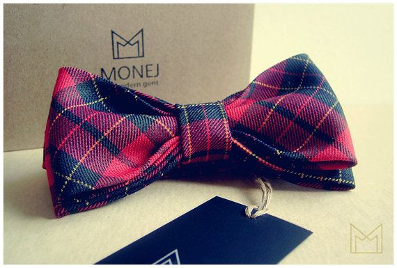 Red and Black Men's Bow Tie FREE SHIPPING Handmade by MonejBowTies