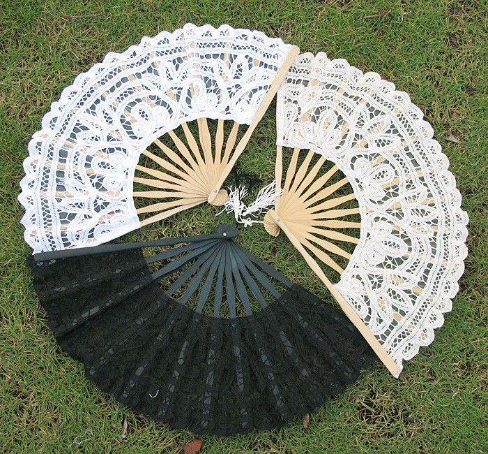 White Ivory Black Lady's Handmade Lace Parasol Hand Fan For Wedding Party Xmas