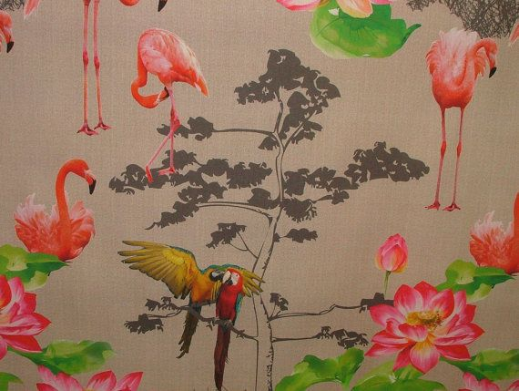 Paradise Flamingo Parrot Bird Linen Look by PandorasUpholstery