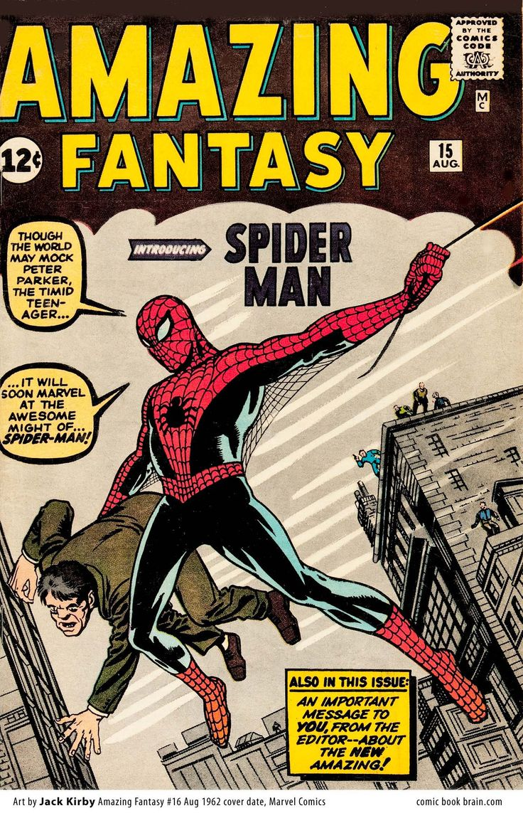 Amazing Fantasy #15, first appearance of The Amazing Spider-Man. Cover by Jack Kirby.