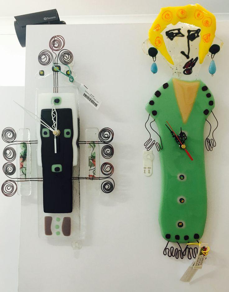 The Artisan Store Fremantle  Green Chook Designs Fused glass Crazy ladies Clocks
