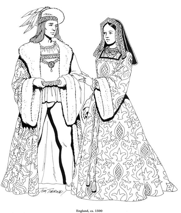 coloring page Clothing of the Renaissance Kids-n-Fun