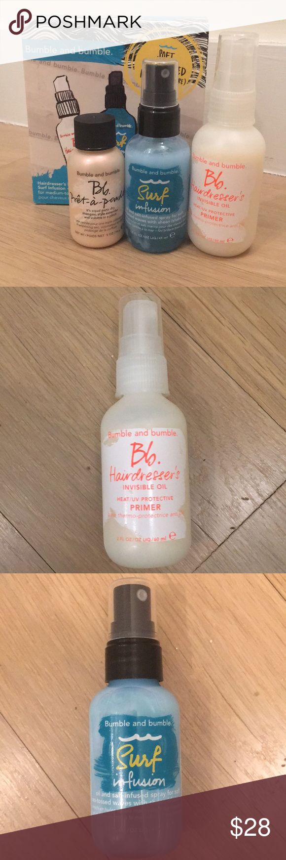 Bumble and bumble hair kit BRAND NEW - set comes with one 2 fl oz Hairdresser's Invisible Oil, one 1.5 fl oz Surf Infusion spray and one .5 oz prêt-a-powder dry shampoo. Perfect for travel! Bumble and bumble Other