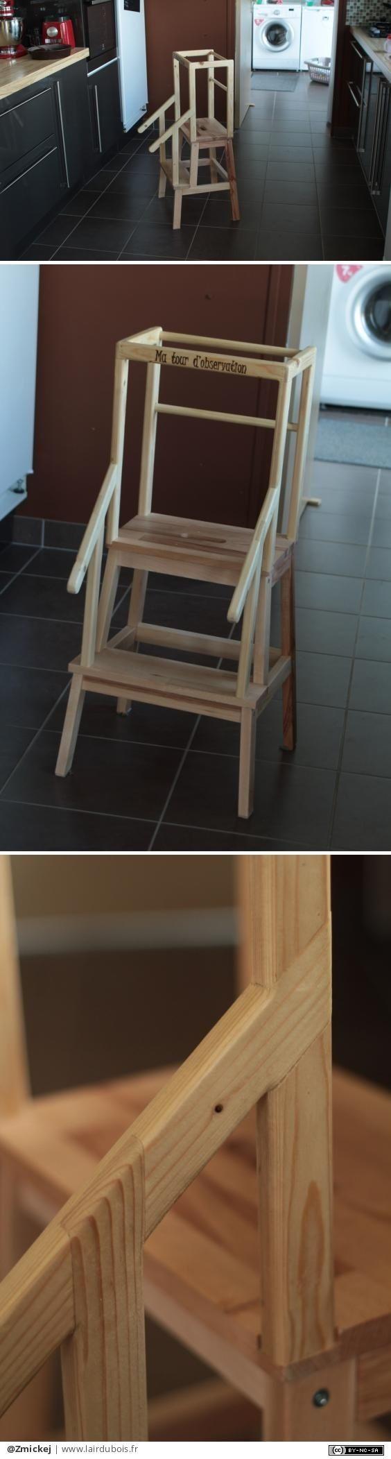 Tabouret Montessori customisé par Zmickej - Un petit tabouret customisé.Je suis parti d'une base de tabouret ikea et j'ai ajouter un garde corps et des rampes.