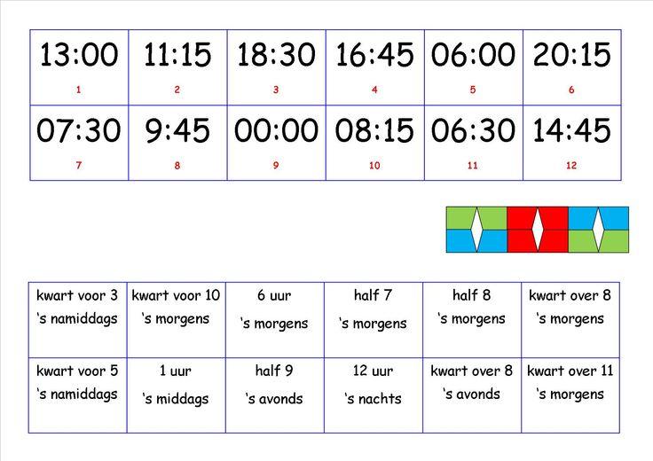 digitale klok : uur, halfuur, kwart over, kwart voor