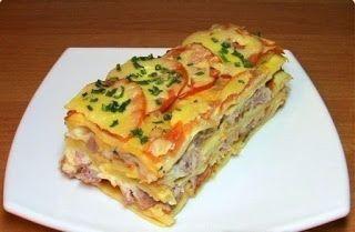 Самые вкусные рецепты: Лазанья с помидорами, сыром и ветчиной