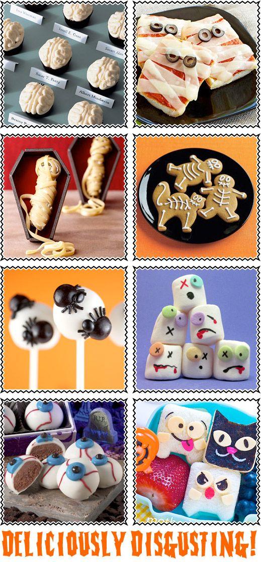 images+halloween+food | Creepy Halloween Food Ideas - Brain Cupcakes, Zombie Marshmellows ...
