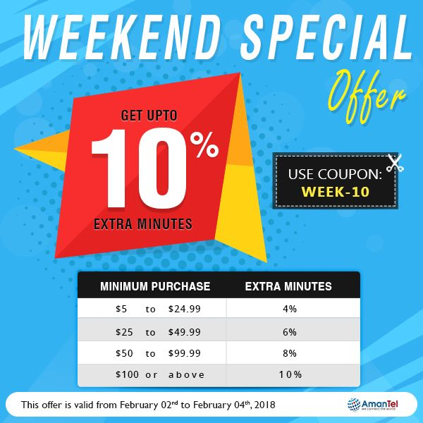 Welcome to Amantel special weekend offer with wonderful deals for all international calls. Save Upto 10% extra minutes while calling internationally. keep talking, do not break the weekend fun. No hidden fees and no taxes!!!  Coupon Code: WEEk-10  #InternationalCall #AmantelCouponCode #SpecialWeekEndOffers