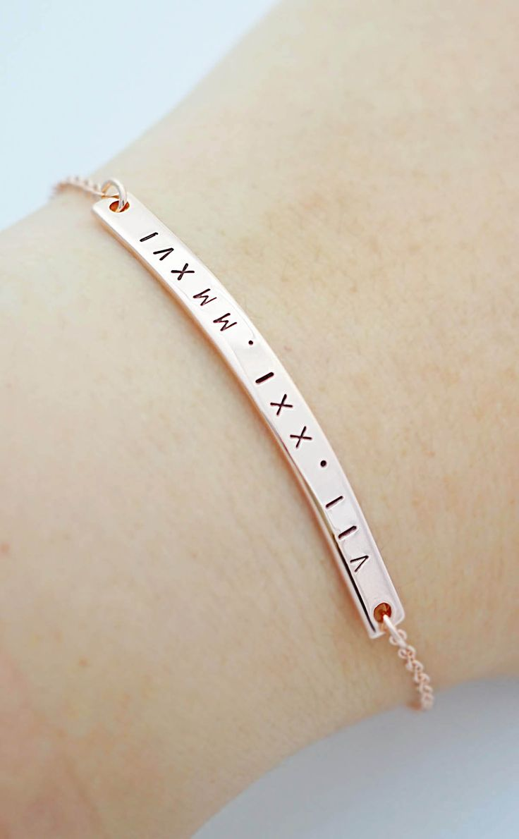 Personalized skinny bar bracelet from EarringsNation modern bar bracelet name bar bracelet rose gold weddings