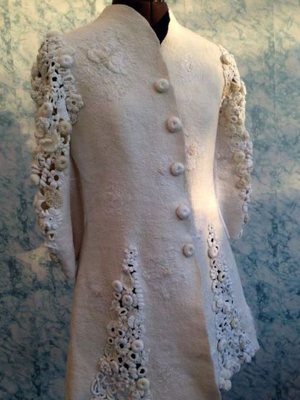 Felted coat with Irish crochet / Пиджаки, жакеты ручной работы. Ярмарка…