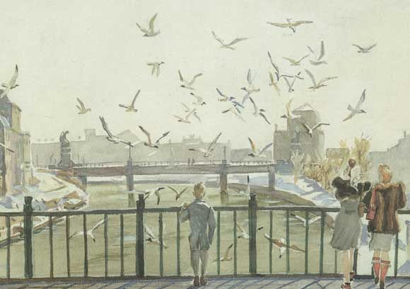 Spring in Vienna  1947 year  Watercolor  Almaty, State Museum of Arts. A. Kasteyev the Republic of Kazakhstan