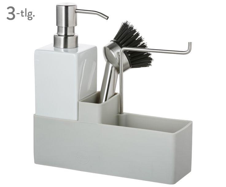 Ein Reinigungs-Set für alle Fälle: CONFETTI von Zone macht Ihren Abwasch zu einem schnellen und leichten Vergnügen. Glauben Sie nicht? Dann überzeugen Sie sich selbst von dem hellgrauen Silikon-Behälter inklusive praktischem Handtuchhalter, Seifenspender und Geschirrbürste mit austauschbarem Bürstenkopf!