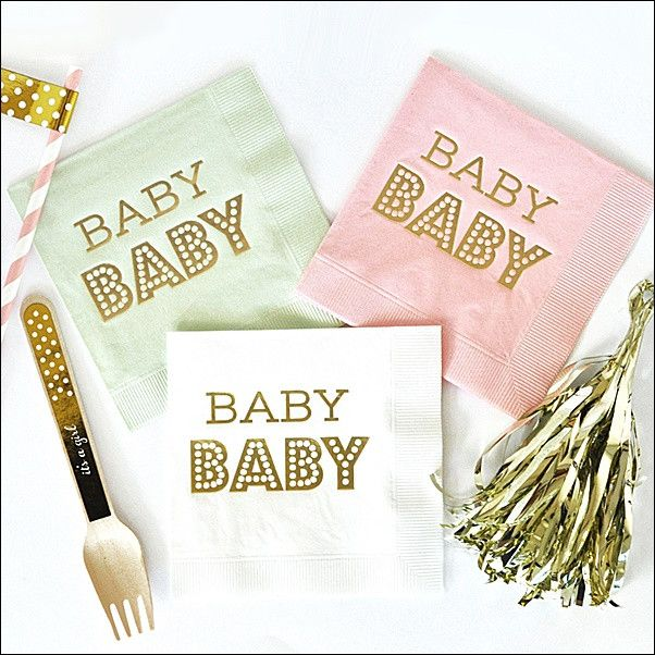 Baby baby! Our gold foil stamped napkins are the perfect finishing touch to your shower decorations. Choose the color to match your theme and give your event a chic look. Fabulous Features: - Sold in