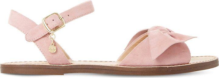 Dune Lettie suede bow sandals