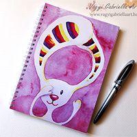 Csíkosfülű nyuszi spirálfüzet - megvásárolható - Vágyi Gabriella Art #akvarell #füzet #nyuszi #nyúl #mese #rózsaszín #csíkos