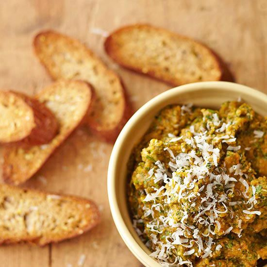 This Pumpkin Pesto is more of a dip than sauce! Bring it to your next fall party: http://www.bhg.com/thanksgiving/recipes/savory-pumpkin-recipes/?socsrc=bhgpin092813pumpkinpesto&page=9