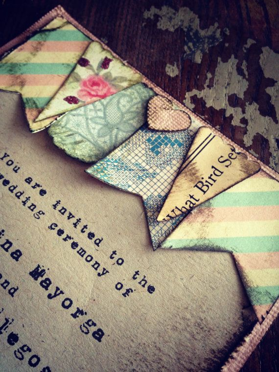 Wedding Invitation Boho Chic Bunting Tea Party via Etsy
