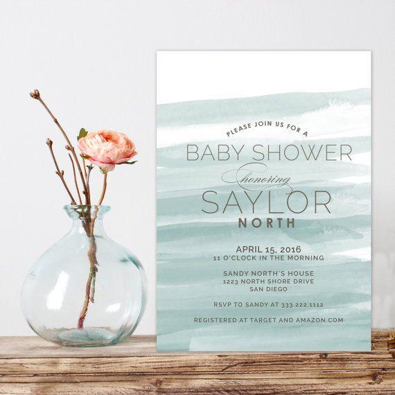 Aquarell Baby-Duscheeinladung moderne Baby Dusche von westwillow
