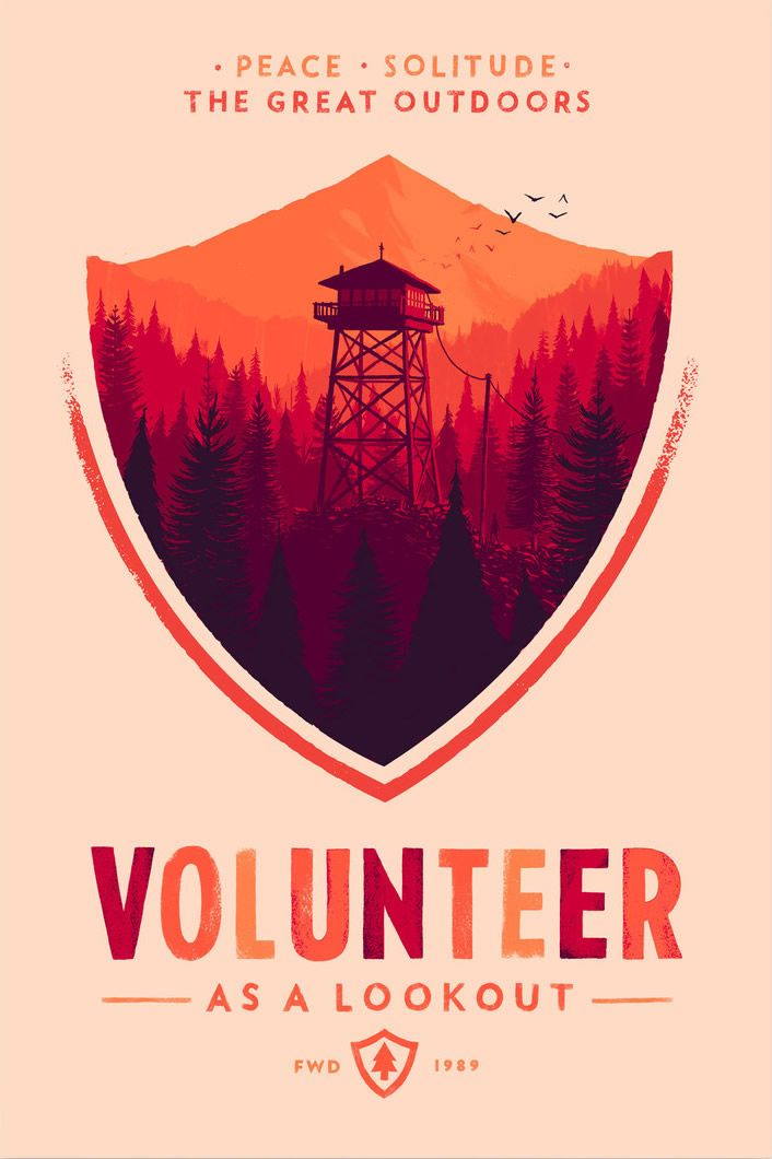 """harrisonbord: """" Gorgeous artwork done by Olly Moss for the beautiful and eery Firewatch, produced by the CampoSanto studio. """""""
