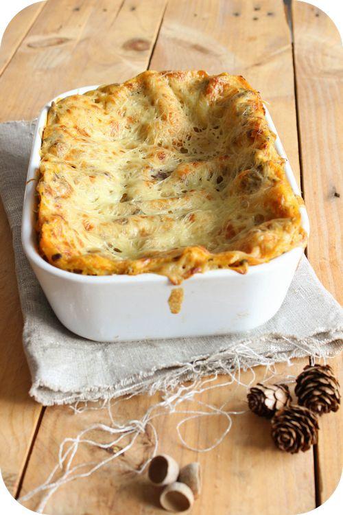 Lasagnes aux champignons et à la purée de butternut au basilic (1)
