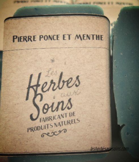 Savon pierre ponce et menthe | Herbes aux Soins