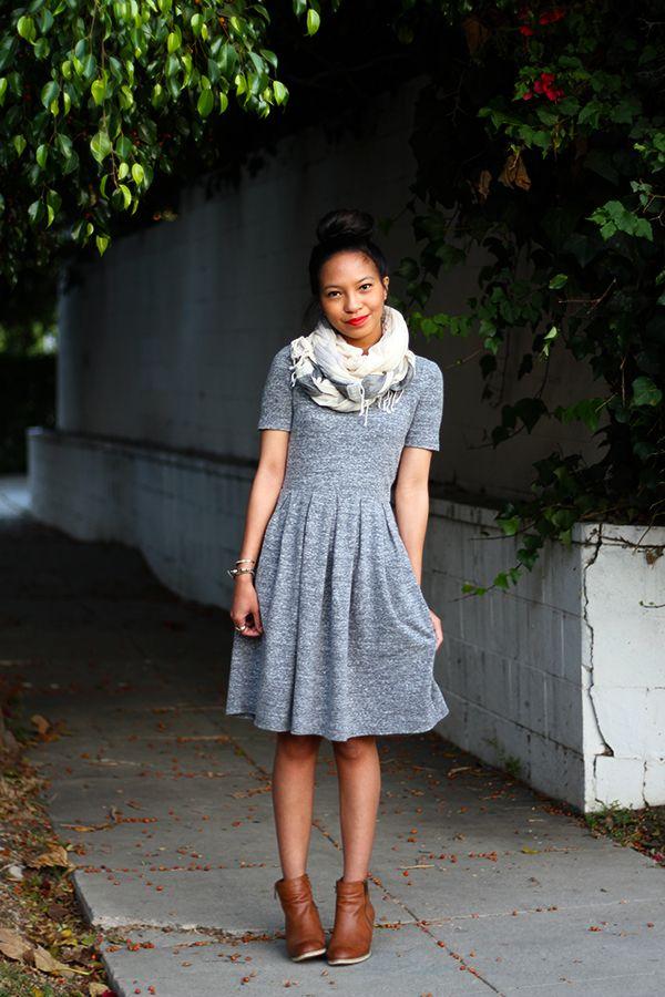 Dress, scarf, booties: