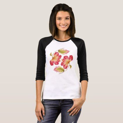 Trendy Pink Hibiscus Floral T-shirt - floral gifts flower flowers gift ideas
